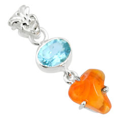 925 silver 8.15cts natural orange mexican fire opal blue topaz pendant r71937