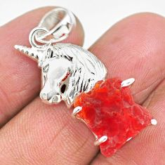 925 silver 6.57cts natural orange mexican fire opal fancy horse pendant r91486