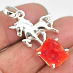 925 silver 6.01cts natural orange mexican fire opal fancy horse pendant r91514
