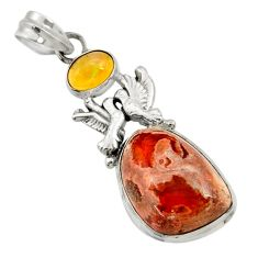 Clearance Sale- 925 silver 16.92cts natural orange mexican fire opal love birds pendant d43484