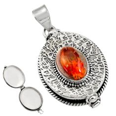 925 silver 6.19cts natural orange mexican fire opal poison box pendant r30624