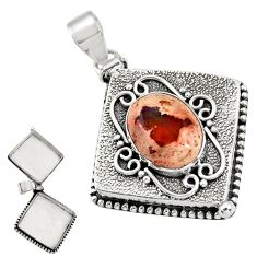 925 silver 7.36cts natural orange mexican fire opal poison box pendant r30637