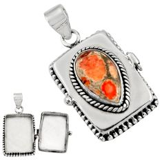 925 silver 6.88cts natural orange mexican fire opal poison box pendant r30664