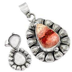 925 silver 8.98cts natural orange mexican fire opal poison box pendant r30737