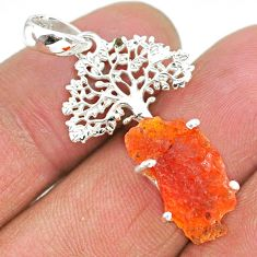 925 silver 6.27cts natural orange mexican fire opal tree of life pendant r91494