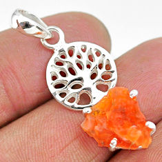 925 silver 4.02cts natural orange mexican fire opal tree of life pendant r91517