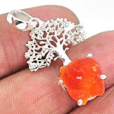 925 silver 5.54cts natural orange mexican fire opal tree of life pendant r91520