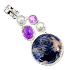 Clearance Sale- 925 silver 18.94cts natural orange sodalite amethyst pearl pendant d44684