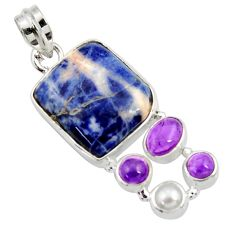 925 silver 18.15cts natural orange sodalite amethyst pearl pendant d44686
