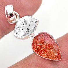 925 silver 9.77cts natural orange sunstone herkimer diamond fancy pendant t49333