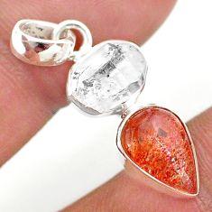 925 silver 8.83cts natural orange sunstone herkimer diamond fancy pendant t49335