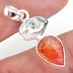925 silver 8.90cts natural orange sunstone herkimer diamond fancy pendant t49337