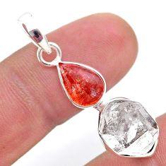 925 silver 8.44cts natural orange sunstone herkimer diamond pendant t49120