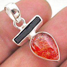 925 silver 8.49cts natural orange sunstone pear tourmaline raw pendant t49326