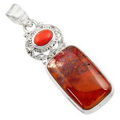 Clearance Sale- 925 silver 21.20cts natural orange vaquilla agate jasper red pendant d45139