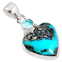 925 silver 11.20cts natural persian turquoise pyrite heart topaz pendant r62809