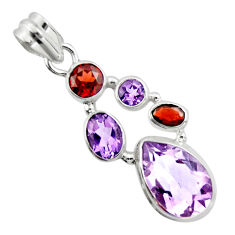 925 silver 11.02cts natural pink amethyst red garnet pendant jewelry r20398