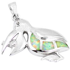 925 silver natural pink australian opal (lab) white topaz pendant c15614
