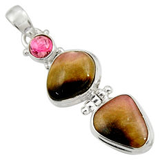 Clearance Sale- 925 silver 13.71cts natural pink bio tourmaline fancy tourmaline pendant d42959