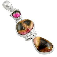 Clearance Sale- 925 silver 14.23cts natural pink bio tourmaline tourmaline pendant d42944