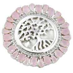 925 silver natural pink chalcedony topaz tree of life pendant jewelry c22826