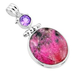 925 silver 16.62cts natural pink cobalt calcite oval amethyst pendant r66104