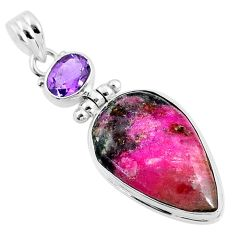 925 silver 16.20cts natural pink cobalt calcite pear amethyst pendant r66108