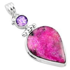 925 silver 16.73cts natural pink cobalt calcite purple amethyst pendant r66044