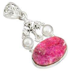 925 silver 15.76cts natural pink cobalt druzy pearl holy cross pendant d44195