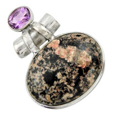 925 silver 26.65cts natural pink firework obsidian amethyst pendant r41674