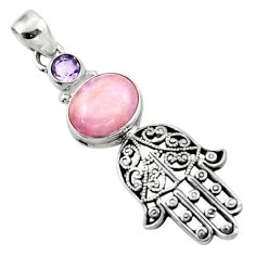 925 silver 6.41cts natural pink kunzite hand of god hamsa pendant jewelry r52784