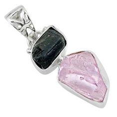 925 silver 9.79cts natural pink kunzite raw tourmaline rough pendant t20924