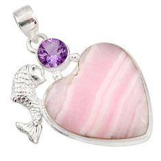 Clearance Sale- 925 silver 28.68cts natural pink lace agate heart amethyst fish pendant d42075