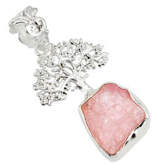 925 silver 7.53cts natural pink morganite rough tree of life pendant r81036