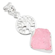 925 silver 8.77cts natural pink morganite rough tree of life pendant r81040