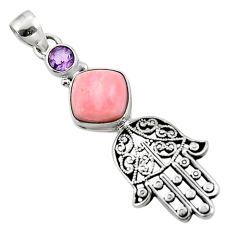 925 silver 5.70cts natural pink opal amethyst hand of god hamsa pendant r52791