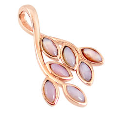 925 silver natural pink opal marquise 14k rose gold pendant a68331 c14050