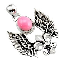 925 silver 4.36cts natural pink opal oval shape feather charm pendant r52867