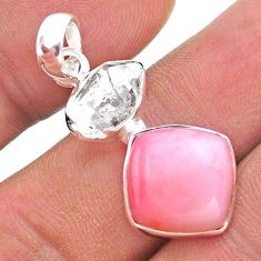 925 silver 9.82cts natural pink opal square herkimer diamond pendant t49098