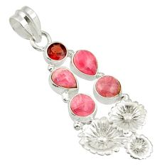 Clearance Sale- 925 silver 6.62cts natural pink rhodochrosite inca rose flower pendant d43016