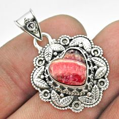 925 silver 5.14cts natural pink rhodochrosite inca rose heart pendant t56160