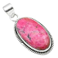 925 silver 16.85cts natural pink rhodonite in black manganese pendant t53580