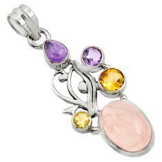 925 silver 10.53cts natural pink rose quartz amethyst citrine pendant d43524