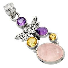 925 silver 10.30cts natural pink rose quartz amethyst dragonfly pendant d43530