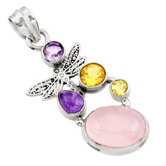 925 silver 10.33cts natural pink rose quartz amethyst dragonfly pendant d43538
