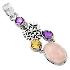 Clearance Sale- 925 silver 10.16cts natural pink rose quartz amethyst snowflake pendant d43540