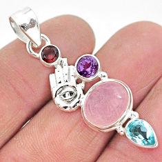 925 silver 7.54cts natural pink rose quartz hand of god hamsa pendant r96368