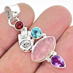 925 silver 7.97cts natural pink rose quartz hand of god hamsa pendant r96376