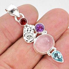 925 silver 7.33cts natural pink rose quartz hand of god hamsa pendant r96384