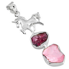 925 silver 12.72cts natural pink rose quartz rough fancy horse pendant r57055